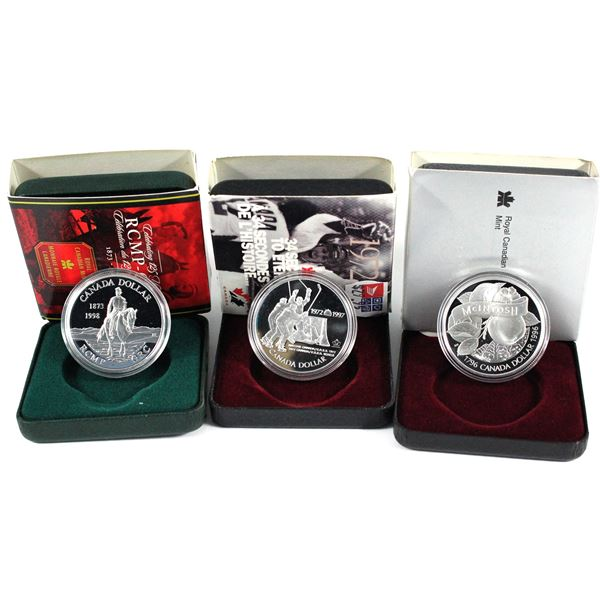 1996,1997  & 1998 Canada commemorative proof silver dollars. Coins come with all original mint packa