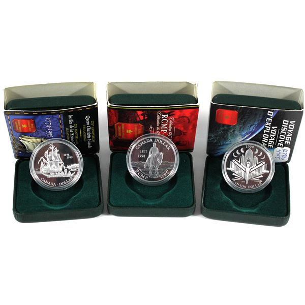 1998,1999 & 2000  Canada commemorative proof silver dollars. Coins come with all original mint packa