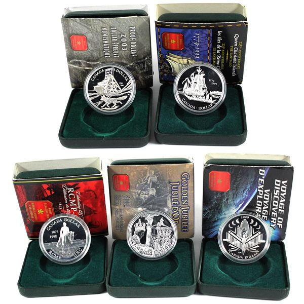 1998,1999,2000,2002 & 2003  Canada commemorative proof silver dollars. Coins come with all original