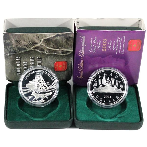 2003 Cobalt & 2003 Special Edition Coronation Proof commemorative Silver dollars(Tax Exempt). Coins
