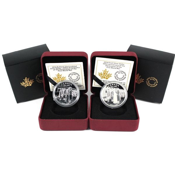 2014 Proof & Brilliant Uncirculated Silver Dollar with all original packaging ( Tax Exempt). 2pcs