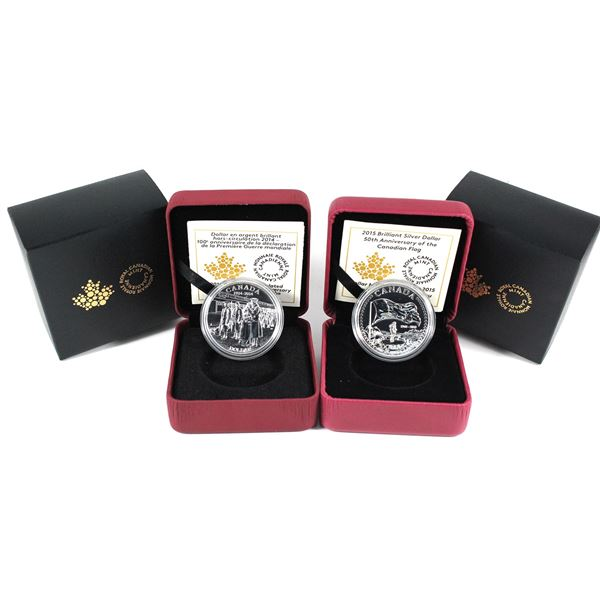 2014 & 2015 Canada Brilliant Uncirculated Silver Dollar with all original mint packaging( Tax Exempt