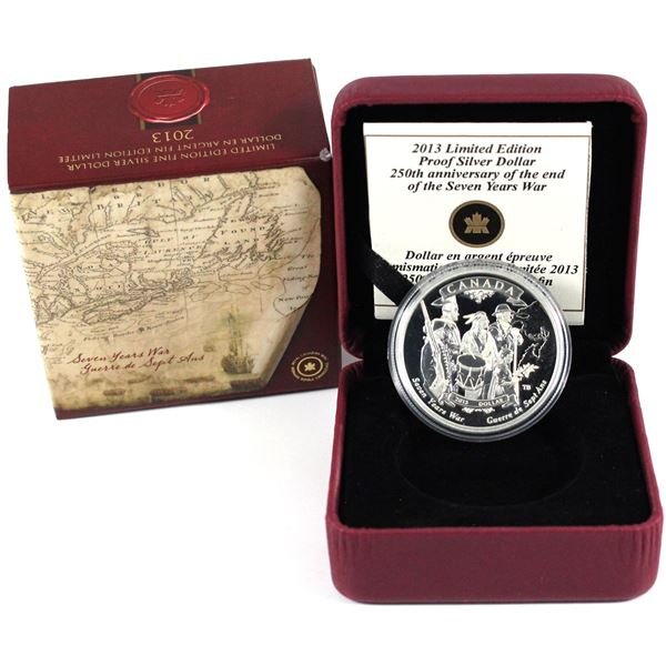 2013 Canada $1 250th Anniversary of the End of the Seven Years War Limited Edition Proof Silver Doll