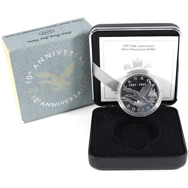 1997 10th Anniversary of the Loon sterling Silver proof flying Loon (outer sleeve is worn).