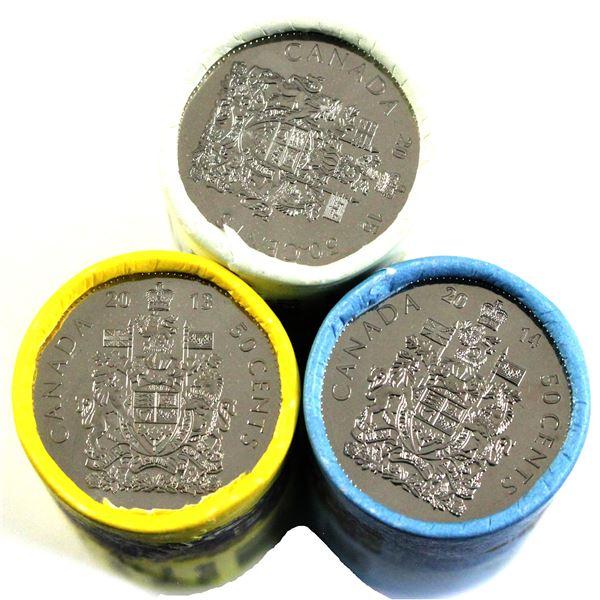 2013,2014 & 2015 Canada 50-cent Original Roll of 25pcs. 3pcs