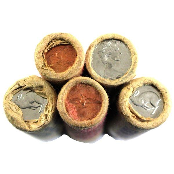 5x 1967 Canada 1-cent & 5-cent original rolls.  Lot contains 2x 1-cent & 3x 5-cents. 2x 5-cent rolls