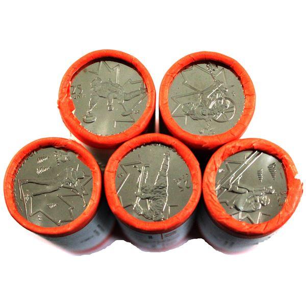 5x 2007 Canada Olympic 25-cents original Rolls of 40pcs: Ice Hockey, Alpine Skiing, wheelchair curli