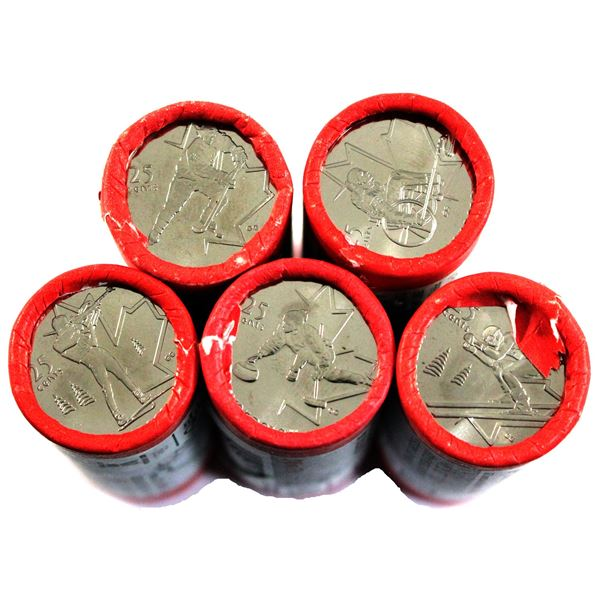5x 2007 Canada Special wrapped Olympic 25-cents original Rolls of 40pcs: Curling, Biathlon, Ice Hock