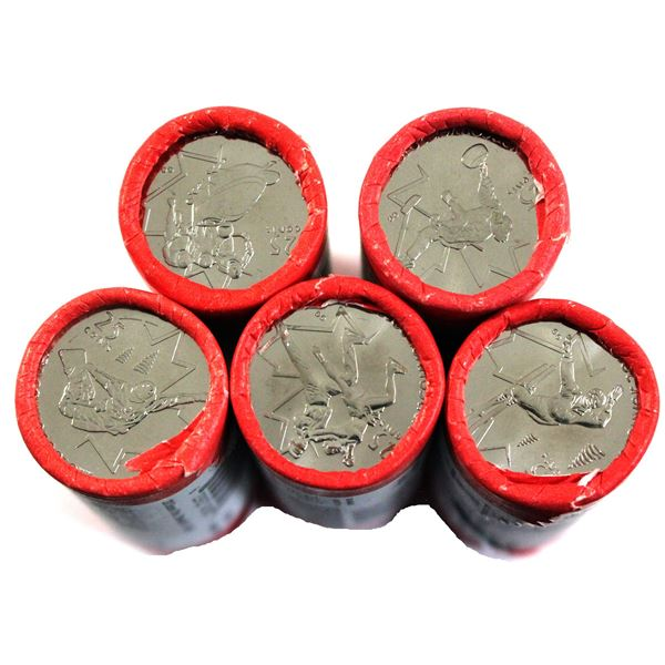5x 2008 Canada Special Wrapped Olympic 25-cents original Rolls of 40pcs: curling, Bobsleigh, Figure