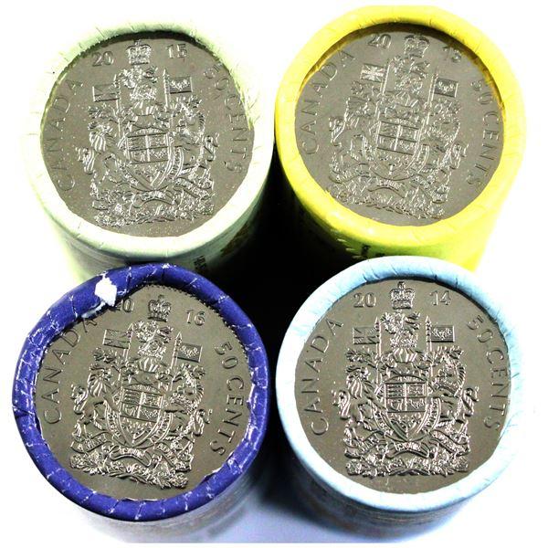 2013,2014,2015,2016 Canada 50-cent original wrapped rolls of 25pcs. 4 rolls.