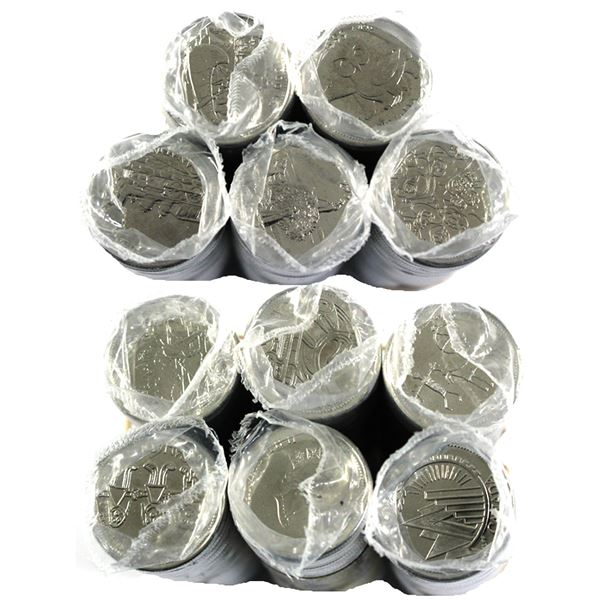 * 11x 1999 Canada 25-cent Commemorative Original Rolls of 40pcs.you will receive one of every month