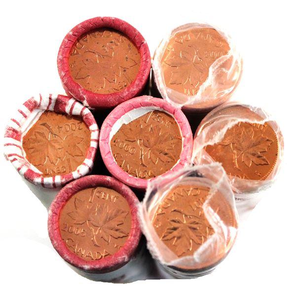 *2000-2006 Canada original wrapped 1-cent roll of  50pcs. Dates include: 2000, 2001 No P, 2002 P OE,