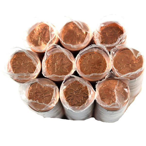 *5x 2010 & 5x 2012 Canada 1-cent Original roll of 50pcs. 10 rolls