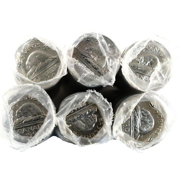 *1992,1993,1994,1999,2000 & 2002P Canada 5-cent Original roll of 40pcs. 6 rolls