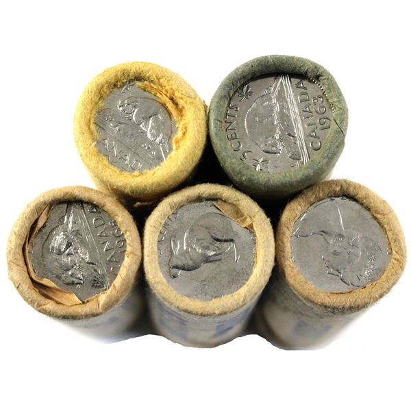 1963,1965,1966,1967 & 1968 Canada 5-cenr original bank rolls of 40pcs. 5 rolls