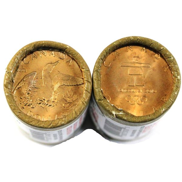 2008  & 2010 special wrapped Olympic Lucky Loon Dollar Rolls of 25pcs. 2 rolls