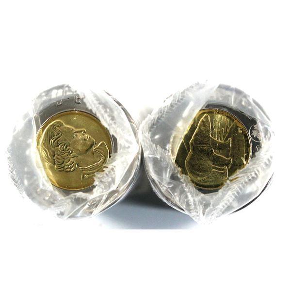 pair of 2020 Canada Two Dollar Polar Bear regular wrapped roll of 25pcs. 2 rolls
