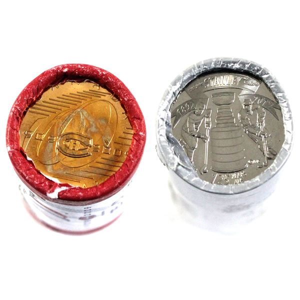2009 Montreal Canadiens Special wrapped Loon & 2017 Stanley Cup 25-cent Original Wrapped Rolls. 2 ro