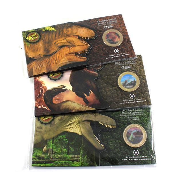 3x 2010 Canada 50-cent Lenticular coins: Sinosauropteryx, Albertosaurus  and the Daspletosaurus Toro