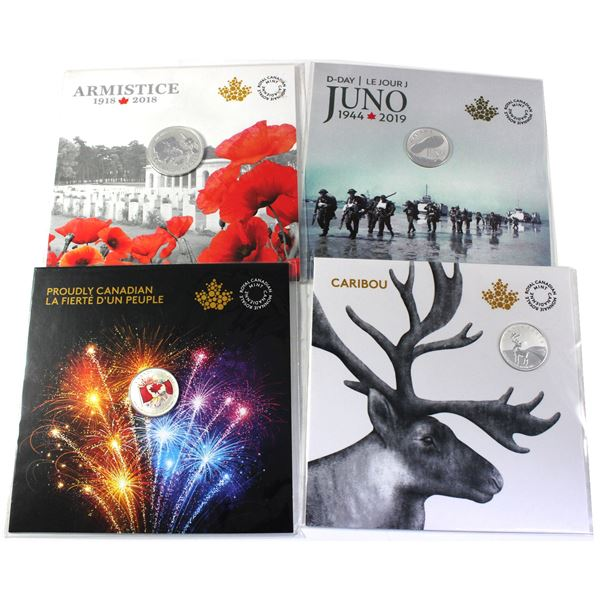 Lot of 4x Canada commemorative silver coins (Tax Exempt): 2017 $5 Proudly Canadian, 2018 $3 Caribou,