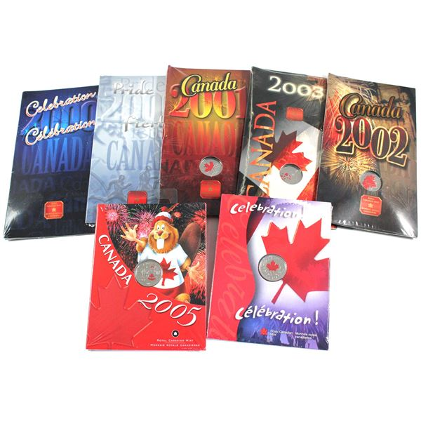 2000-2005 Canada Day Commemorative 25-cent first day covers. Lot includes: 2000 Pride, 2000 Celebrat