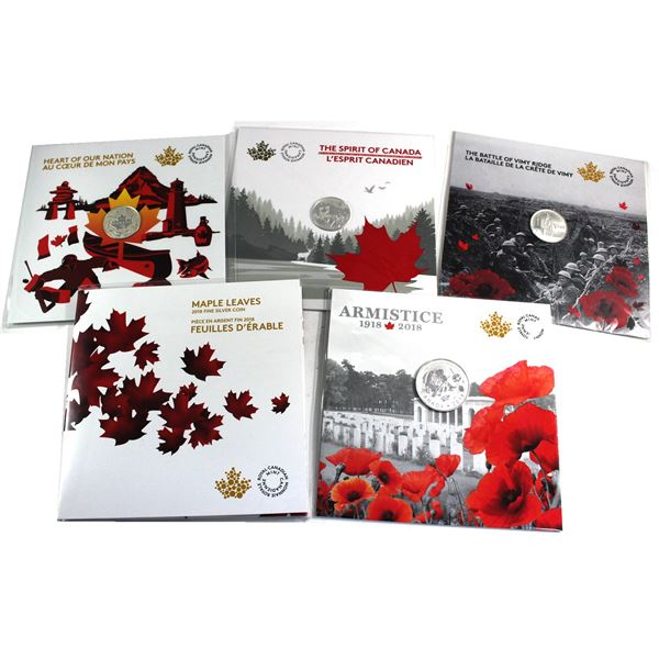 6x Canada Commemorative Silver coins (Tax Exempt). Lot includes: 2017 $3 Battle of Vimy Ridge, 2017