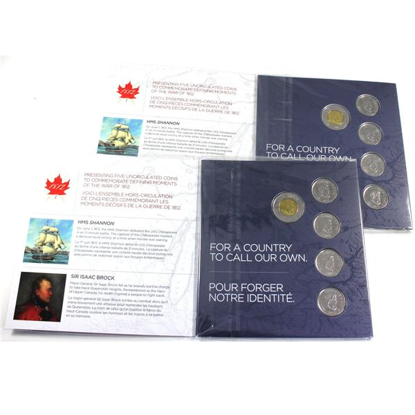 Pair of 2012-2013 Canada The War of 1812 Commemorative Gift Set. 2pcs