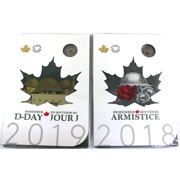 2018 Armistice & 2019 D-day Keepsake collection. 2 sets.