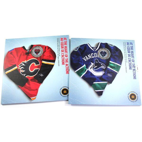 2009 Calgary Flames & Vancouver Canuck coin set. 2 set