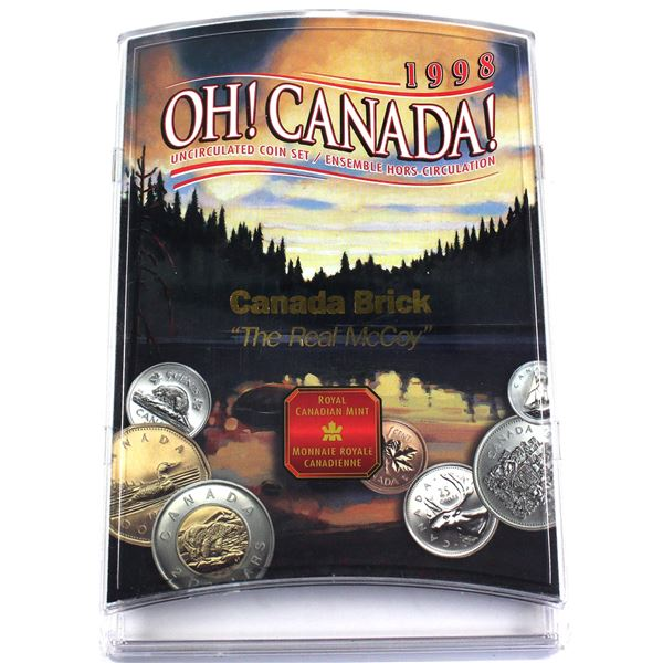 """Special Issue by the RCM: 1998 Oh Canada set with """"Canada Brick, The Real McCoy"""" imprinted."""