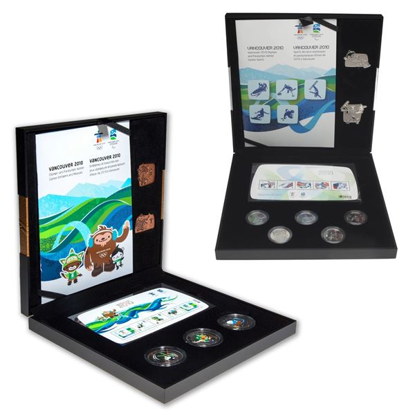 2x 2010 Vancouver Olympic Coin, Stamp & Pin Sets. You will receive the Silver and Bronze sets. 2pcs
