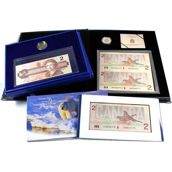3x 1996 commemorative $2 sets: 1996 Silver Piedfort $2 and paper money set, 1996 Canada $2.00 Uncirc
