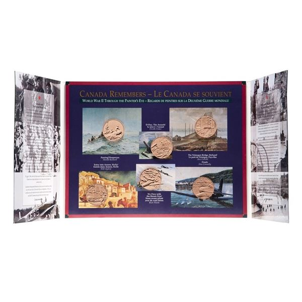 """""""Canada Remembers World War II"""" Six Magnetic Medal set. Outer packaging is impaired."""