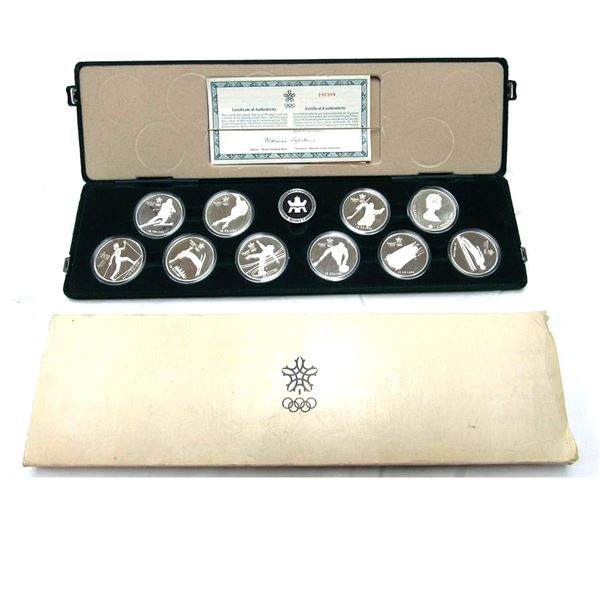 1988 Calgary Olympic Sterling Silver 10-Coin Set in the Original Display Case (coin comes with 4 ind