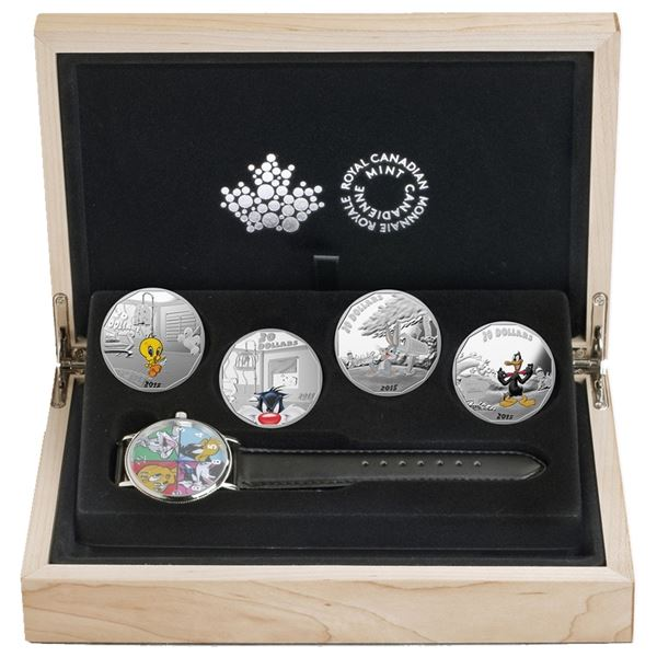 2015 Canada $20 Looney Tunes Classic Scenes 4-coin set with collector Watch (Tax Exempt)