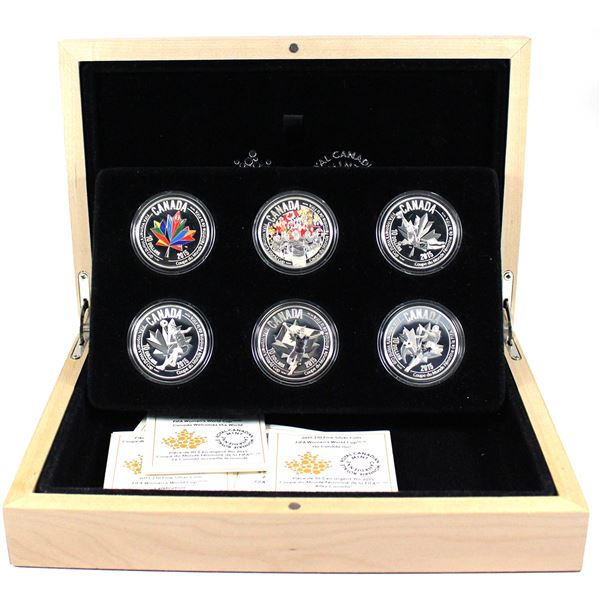 2015 Canada $10 FIFA Women's World Cup Fine Silver 6-coin Set (TAX Exempt)