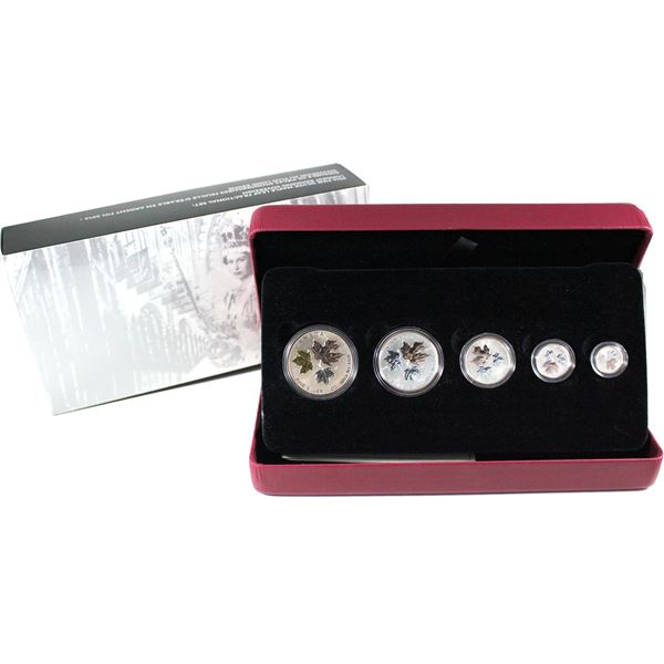 2015 Canada The Maple Leaf 5-coin Fine Silver Fractional Set (Tax Exempt)