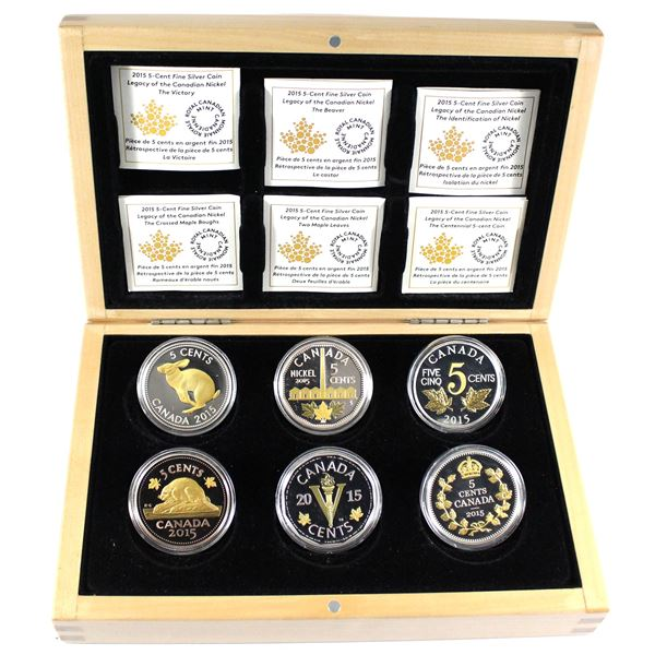 2015 Canada Legacy of the Nickel 6-Coin Fine Silver Set in Deluxe Box (Tax Exempt). Some coins are t