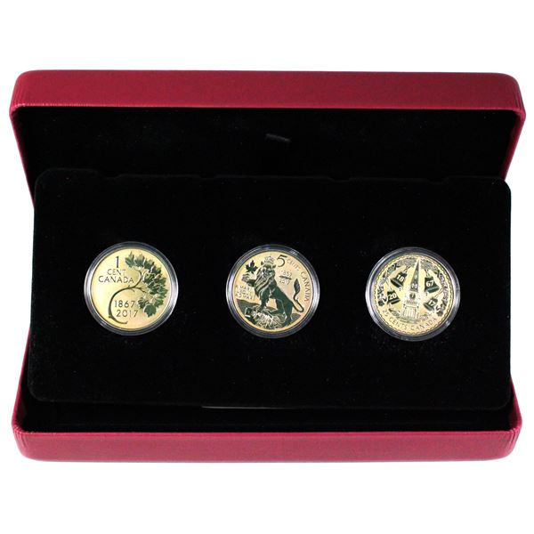 2017 Canada RCM Coin Lore - Forgotten 1927 Design 3-coin Fine Silver Set( TAX Exempt) coins are tone