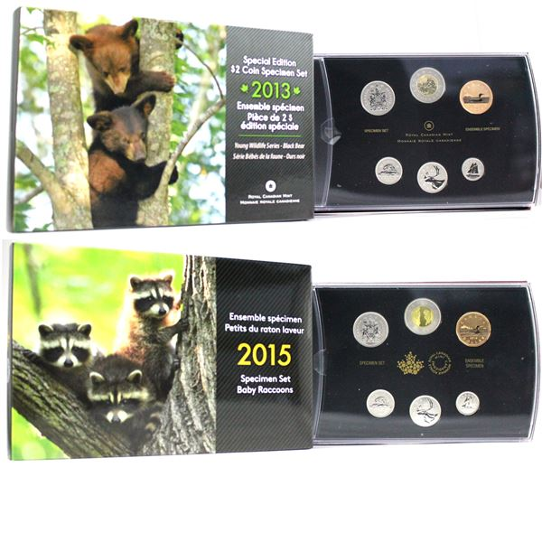 2013 Canada Black Bear Cubs & 2015 Baby Raccoons Special edition Specimen sets. 2 sets