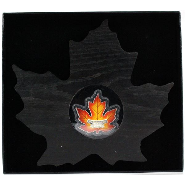 2016 $20 Canada's Colourful Maple Leaf Shaped Fine Silver Coin (Tax Exempt) protective case is scuff