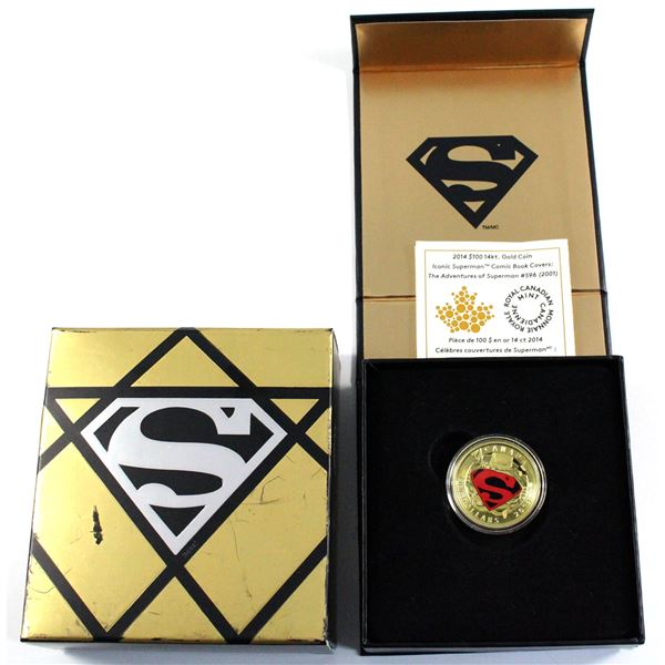2014 Canada $100 Iconic Superman - Adventures of Superman #596 14K Gold Coin. *SCARCE*