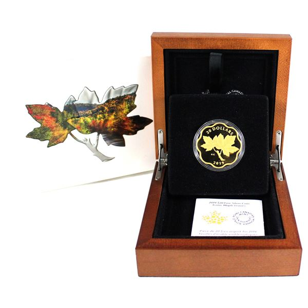 2018 Canada $20 Iconic Maple Leaves Gold Plated Fine Silver Coin. (TAX Exempt)
