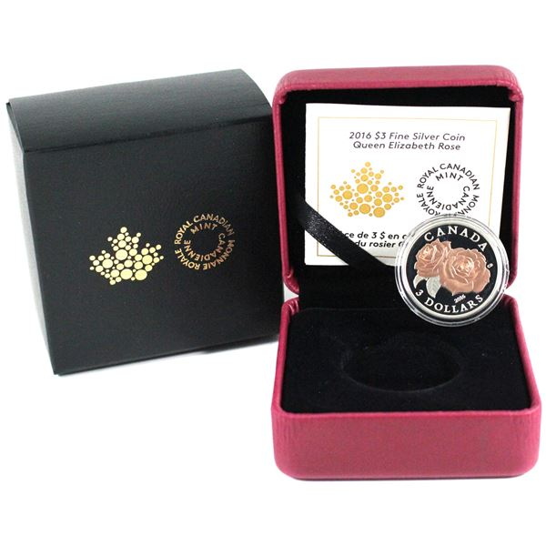 2016 Canada $3 Queen Elizabeth Rose Fine silver coin (TAX Exempt).