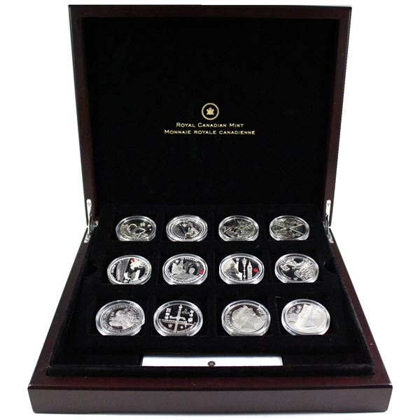 *2011 & 2012 Diamond Jubilee 12-coin Silver Set in Deluxe Display Case with Tray & COA Issued by the