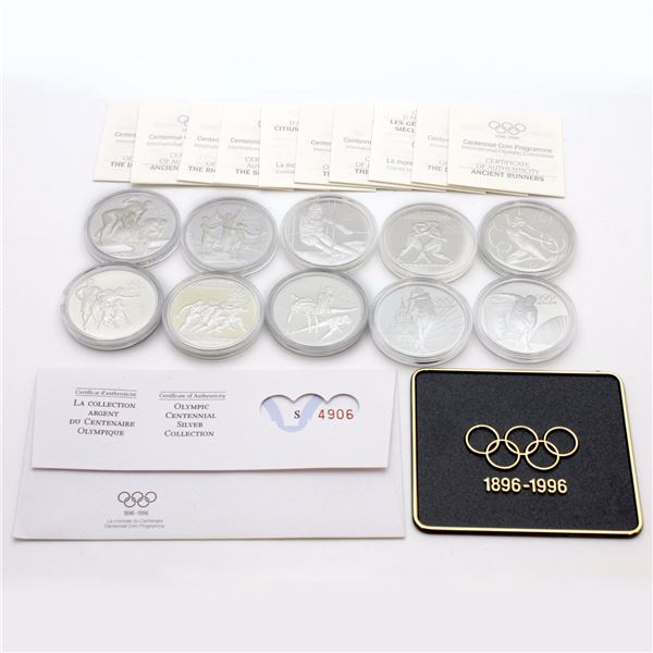 1996 Olympic Centennial Games Sterling Silver coins from 5 countries. 10pcs
