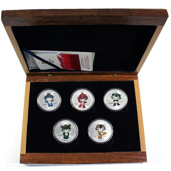 """2008 Beijing Olympic Games - Mascots Series Medallion Set in original wooden display. """"Ying Ying"""" co"""