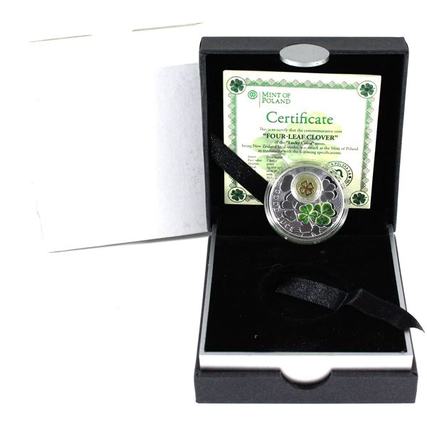 2014 Poland Mint $1 Symbols of Luck series fine silver coin: The Four-Leaf-Clover.