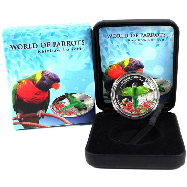 2015 Cook Islands $5 World of Parrots - Rainbow Lorikeet 3D Effect Sterling Silver Coin. The bird th