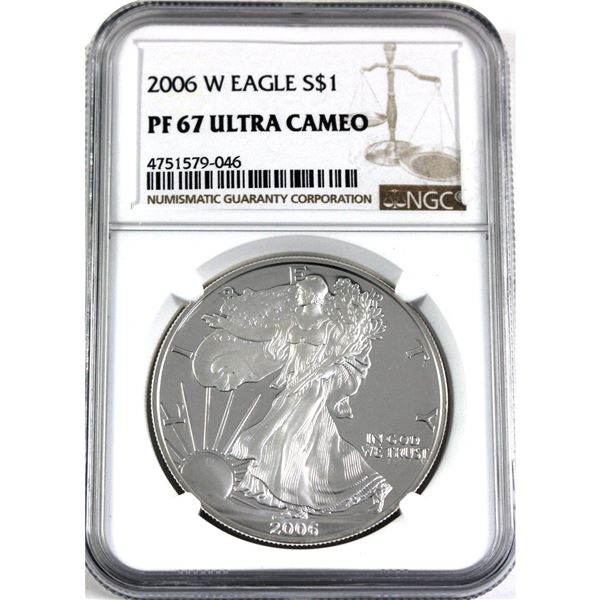 2006 W United States 1oz .999 Fine Silver Proof Eagle NGC Certified PF-67; Ultra Cameo (Tax Exempt)